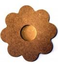 Support en bois - Bougeoir fleur