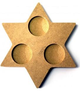 Support en bois - Bougeoir étoile