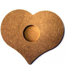 Support en bois - Bougeoir coeur